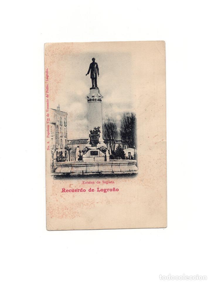 LOGROÑO.(LA RIOJA).- ESTATUA DE SAGASTA.RECUERDO. (Postales - España - La Rioja Antigua (hasta 1939))