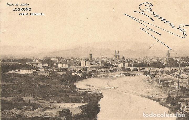 LOGROÑO - VISTA GENERAL - HIJOS DE ALESÓN - CIRCULADA AÑO 1911 (Postales - España - La Rioja Antigua (hasta 1939))