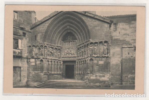 LOGROÑO NÁJERA. PORTADA DE SAN BARTOLOMÉ. BEBED VINO DE RIOJA. 1932 DIA DEL VINO (Postales - España - La Rioja Antigua (hasta 1939))