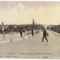 Postales: POSTAL FOTOGRÁFICA LOGROÑO VISTA GENERAL Y PUENTE DE HIERRO . Lote 176349493