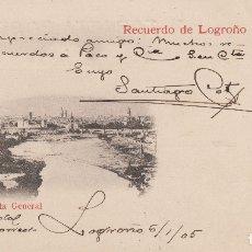 Postales: LOGROÑO. VISTA GENERAL. RECUERDO DE LOGROÑO. 1905. Lote 176371355