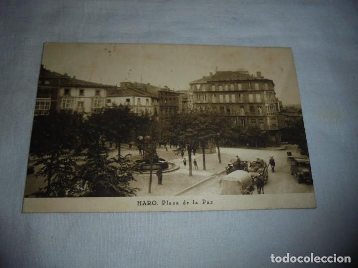HARO.PLAZA DE LA PAZ.IMPRENTA Y LIBRERIA VIELA.ESCRITA Y FECHADA HARO 8/11/1930 (Postales - España - La Rioja Antigua (hasta 1939))
