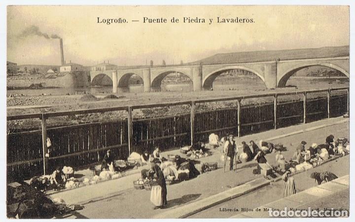POSTAL LOGROÑO PUENTE DE PIEDRA Y LAVADEROS (Postales - España - La Rioja Antigua (hasta 1939))