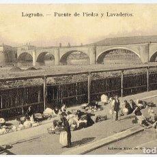 Postales: POSTAL LOGROÑO PUENTE DE PIEDRA Y LAVADEROS . Lote 178949205
