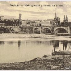 Postales: POSTAL LOGROÑO VISTA GENERAL Y PUENTE DE PIEDRA . Lote 179173458