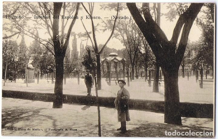 POSTAL LOGROÑO INTERIOR DEL ESPOLÓN Y KIOSCO (NEVADO) (Postales - España - La Rioja Antigua (hasta 1939))