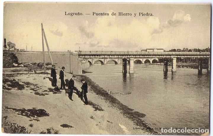 POSTAL LOGROÑO PUENTES DE HIERRO Y PIEDRA (Postales - España - La Rioja Antigua (hasta 1939))