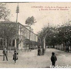 Postales: LOGROÑO CALLE DE LA DUQUESA DE LA VICTORIA Y ESCUELA NORMAL DE MAESTROS. ED. HIJOS DE MERINO. Lote 182898215
