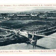 Postales: LA RIOJA FUENMAYOR BODEGAS DEL ROMERAL FELIX AZPILICUETA MARTINEZ , BODEGAS DESDE EL RIO EBRO. Lote 183318296