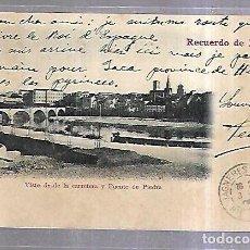 Postales: TARJETA POSTAL. RECUERDO DE LOGROÑO. VISTA DESDE LA CARRETERA Y PUENTE DE PIEDRA. 12. VDA VENANCIO. Lote 184696088