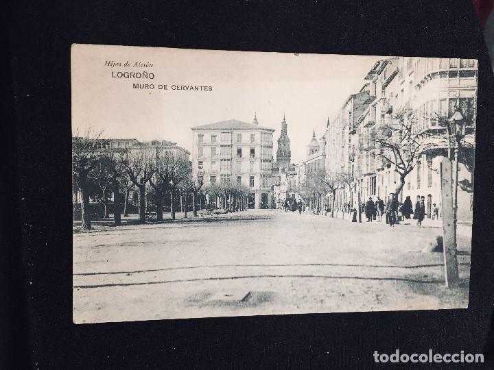 POSTAL LOGROÑO HIJOS DE ALESON MURO DE CERVANTES INSCRITA (Postales - España - La Rioja Antigua (hasta 1939))