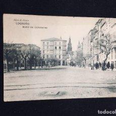 Postales: POSTAL LOGROÑO HIJOS DE ALESON MURO DE CERVANTES INSCRITA. Lote 194297055