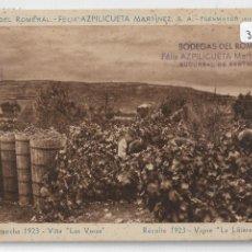 Postales: FUENMAYOR - BODEGAS DEL ROMERAL - FÉLIX AZPILICUETA - COSECHA 1923 VIÑA LAS VERAS - P30273. Lote 197429271
