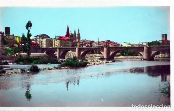 POSTAL LOGROÑO - PUENTE DE PIEDRA SOBRE EL EBRO Y VISTA - EE JOSECHU (Postales - España - La Rioja Antigua (hasta 1939))