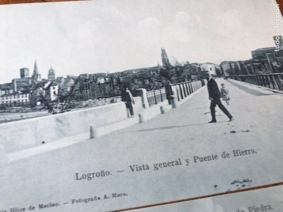 Postales: LOTE 2 POSTALES LOGROÑO. VISTA GENERAL Y PUENTE DE PIEDRA. V G Y PUENTE DE HIERRO. HIJOS MERINO - Foto 2 - 202777273