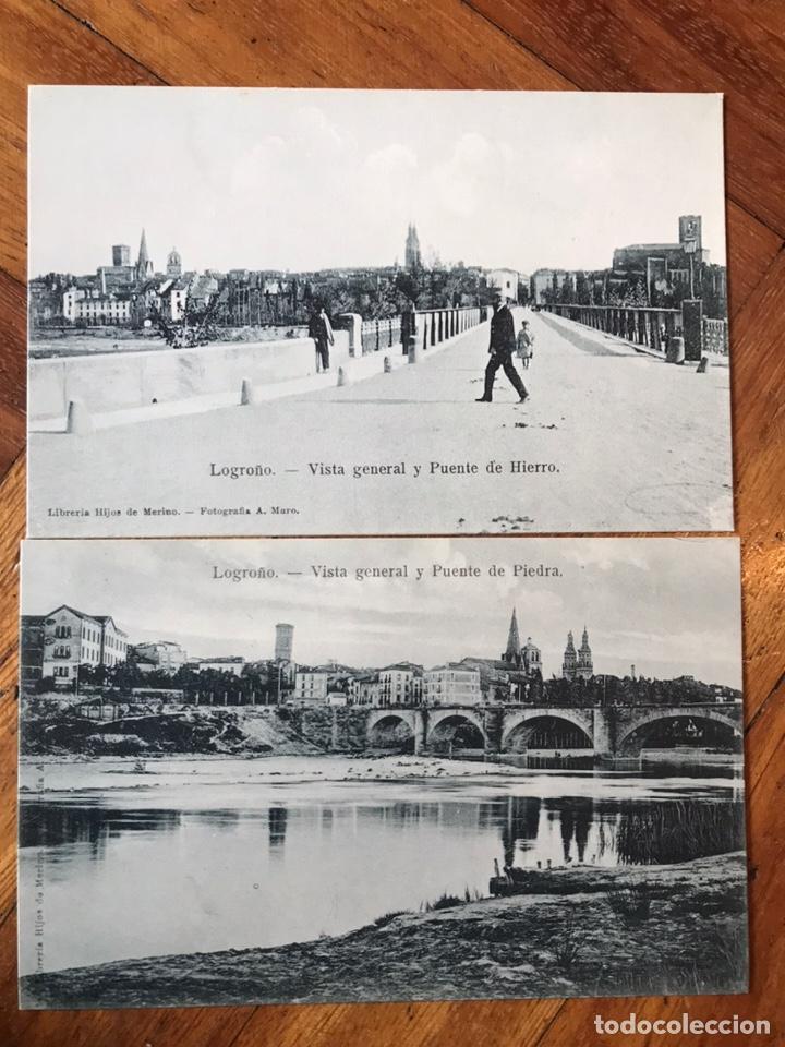 LOTE 2 POSTALES LOGROÑO. VISTA GENERAL Y PUENTE DE PIEDRA. V G Y PUENTE DE HIERRO. HIJOS MERINO (Postales - España - La Rioja Antigua (hasta 1939))