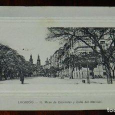 Postales: POSTAL DE LOGROÑO. N.11. MURO DE CERVANTES Y CALLE DEL MERCADO. CIRCULADA. IMP. LIB. HIJOS DE MERINO. Lote 210974140