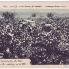 Postales: FUENMAYOR (LA RIOJA): FÉLIX AZPILICUETA. BODEGAS DEL ROMERAL. VENDIMIANDO - AÑO 1923 (AÑOS 20). Lote 211471331