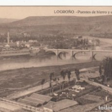 Postales: POSTAL LOGROÑO - PUENTES DE HIERRO Y PIEDRA. Lote 213958905