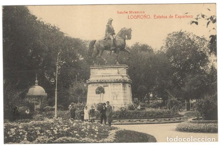 POSTAL - LOGROÑO. ESTATUA DE ESPARTERO - SALÓN MURILLO. (Postales - España - La Rioja Antigua (hasta 1939))