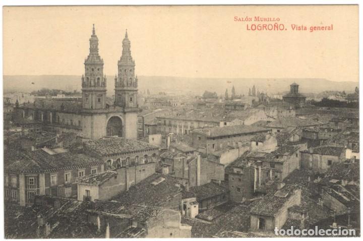 POSTAL - LOGROÑO - VISTA GENERAL - SALÓN MURILLO. (Postales - España - La Rioja Antigua (hasta 1939))