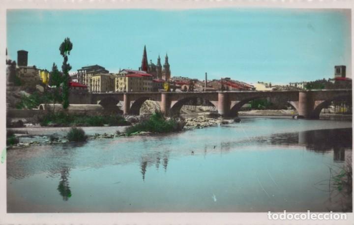 POSTAL LOGROÑO - PUENTE DE PIEDRA SOBRE EL EBRO Y VISTA PARCIAL - JOSECHU - ESCRITA (Postales - España - La Rioja Antigua (hasta 1939))