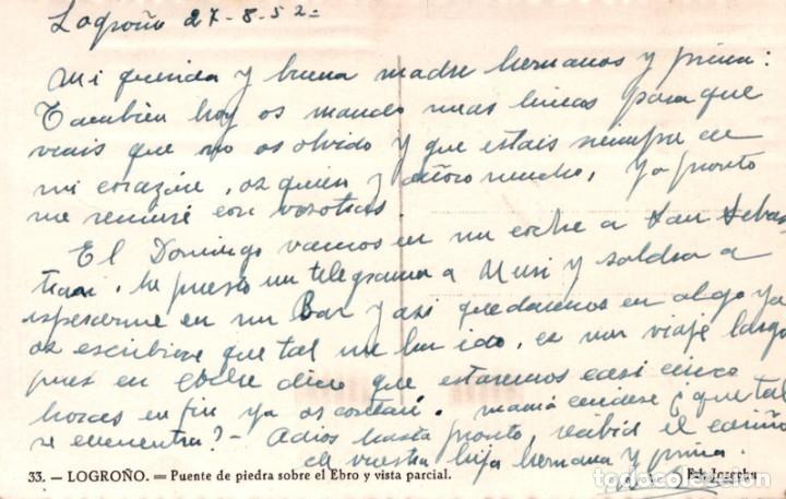 Postales: POSTAL LOGROÑO - PUENTE DE PIEDRA SOBRE EL EBRO Y VISTA PARCIAL - JOSECHU - ESCRITA - Foto 2 - 222367700