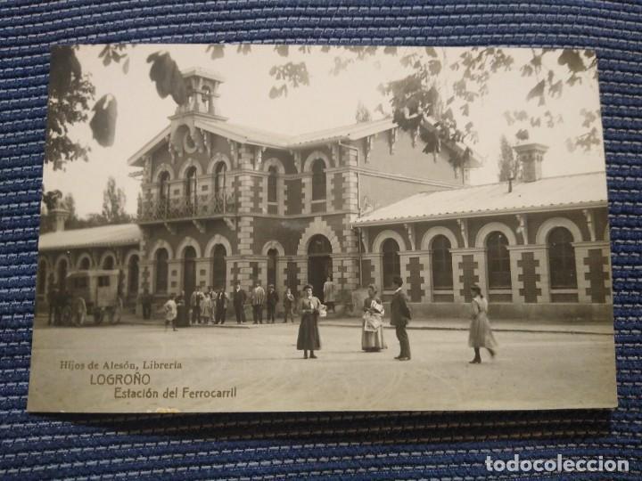 LOGROÑO HIJOS DE ALESON LIBRERÍA. ESTACIÓN DEL FERROCARRIL.. FOTOGRAFICA. (Postales - España - La Rioja Antigua (hasta 1939))