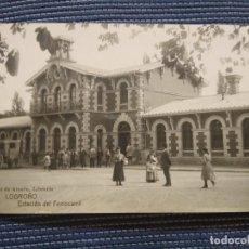 Postales: LOGROÑO HIJOS DE ALESON LIBRERÍA. ESTACIÓN DEL FERROCARRIL.. FOTOGRAFICA.. Lote 224531981