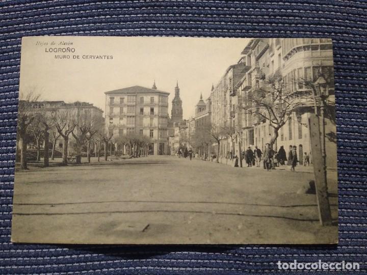 LOGROÑO MURO DE CERVANTES. HIJOS DE ALESON. SIN CIRCULAR (Postales - España - La Rioja Antigua (hasta 1939))