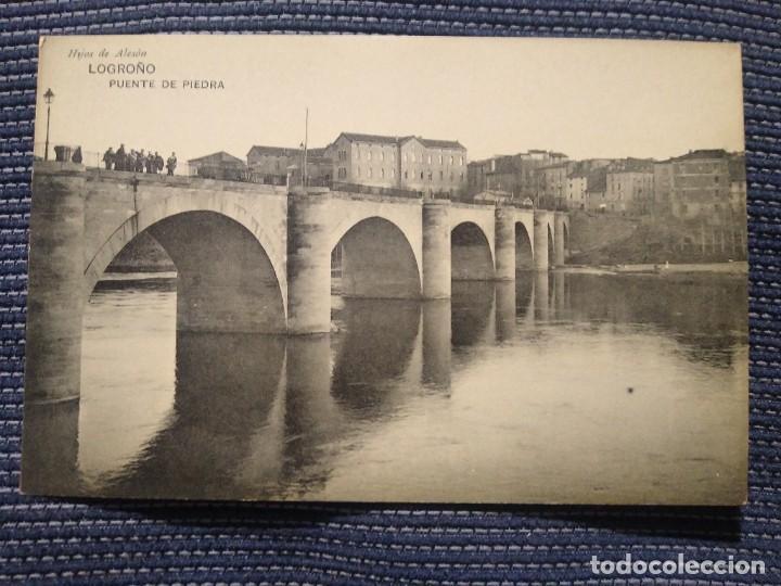 LOGROÑO PUENTE DE PIEDRA. HIJOS DE ALESON. SIN CIRCULAR (Postales - España - La Rioja Antigua (hasta 1939))