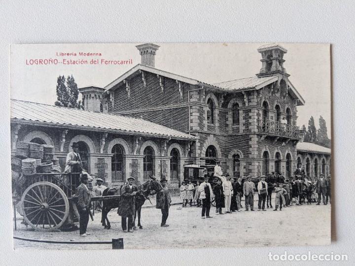 LOGROÑO ESTACION DEL FERROCARRIL - PRINCIPIOS SIGLO XX - FOTOTIPIA CASTAÑEIRA Y ALVAREZ DE MADRID (Postales - España - La Rioja Antigua (hasta 1939))