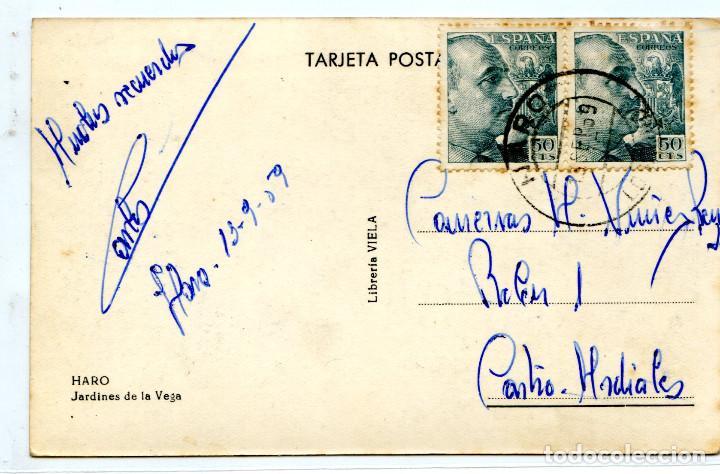 Postales: Haro. Jardines de la Vega. Librería Viela, circulada - Foto 2 - 117753579