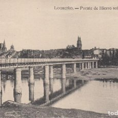 Postales: POSTAL DE LOGROÑO - PUENTE DE HIERRO SOBRE EL RIO EBRO - IMPRENTA HIJOS DE MERINO. Lote 241265825
