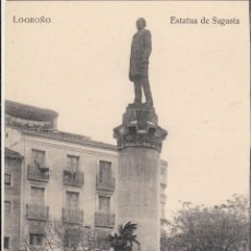 Postais: POSTAL DE LOGROÑO -ESTATUA DE SAGASTA - IMPRENTA HIJOS DE MERINO. Lote 241268285