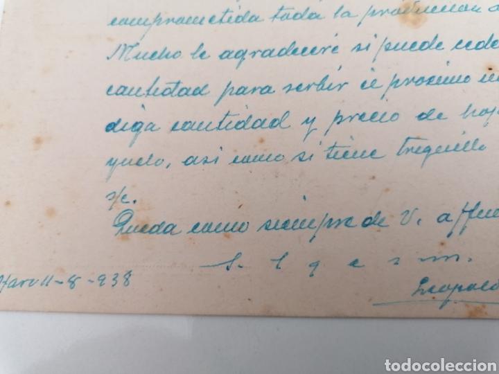 Postales: HARO. LA RIOJA. LEOPOLDO GARCÍA, VINOS, CEREALES. POSTAL A NÁJERA. CENSURA MILITAR. AGO. 1938 - Foto 2 - 244929885