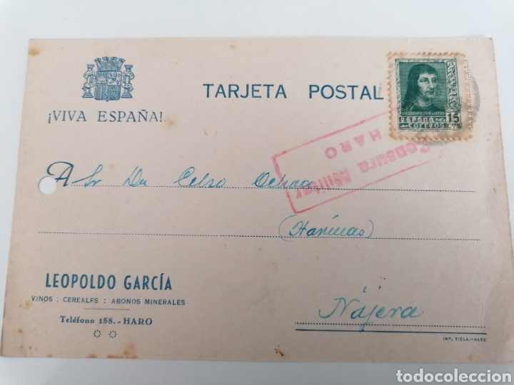 HARO. LA RIOJA. LEOPOLDO GARCÍA, VINOS, CEREALES. POSTAL A NÁJERA. CENSURA MILITAR. AGO. 1938 (Postales - España - La Rioja Antigua (hasta 1939))