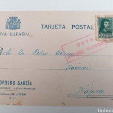 Postales: HARO. LA RIOJA. LEOPOLDO GARCÍA, VINOS, CEREALES. POSTAL A NÁJERA. CENSURA MILITAR. AGO. 1938. Lote 244929885