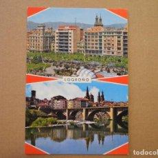 Postales: LOGROÑO. PASEO DE EL ESPOLÓN Y PUENTE SOBRE EL EBRO. ED. GARCIA GARRABELLA N. 18 NUEVA. Lote 255527830