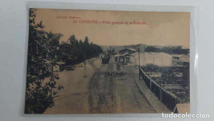 ANTIGUA POSTAL DE LOGROÑO - VISTA GENERAL DE LA ESTACIÓN - LIBRERIA MODERNA - NO CIRCULADA - EN PERF (Postales - España - La Rioja Antigua (hasta 1939))