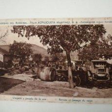 Postales: BODEGAS DEL ROMERAL FÉLIX AZPILICUETA LLEGADA Y PESADA DE LA UVA. Lote 261968080