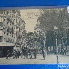 Postales: (PS-66538)POSTAL DE LOGROÑO-CALLE DE LA ESTACION HOY DE TIRSO DE RODRIGAÑEZ.HIJOS DE ALESON. Lote 293918918