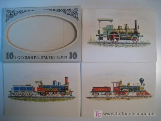 LOCOMOTORAS - ALBUM 16 POSTALES ILUSTRADAS (Postales - Postales Temáticas - Trenes y Tranvías)