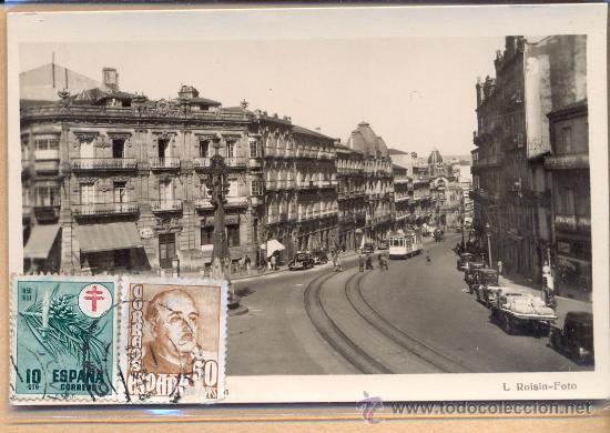 POST 241 - CALLE CON TRANVÍA - FOTO ROISIN - POSTAL CIRCULADA PAISAJE URBANO CON TRANVÍA (Postales - Postales Temáticas - Trenes y Tranvías)