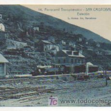 Postales: FERROCARRIL TRANSPIRENAICO. SAN CRISTOBAL DE TOSAS. ESTACIÓN. VISTA DEL FERROCARRIL. (L. ROISIN). . Lote 15258569