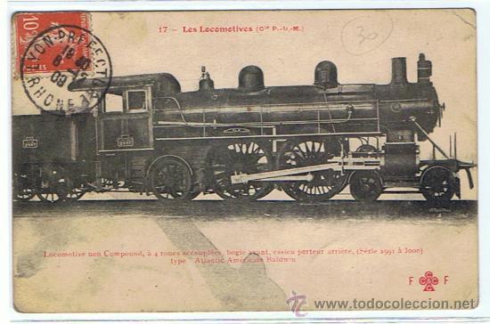 TRENES - LOCOMOTORAS, POSTAL PRACTICAMENTE UNICA, SELLADA Y RESELLEDA, AÑO 1909 (Postales - Postales Temáticas - Trenes y Tranvías)