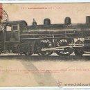 Postales: TRENES - LOCOMOTORAS, POSTAL PRACTICAMENTE UNICA, SELLADA Y RESELLEDA, AÑO 1909. Lote 27465298