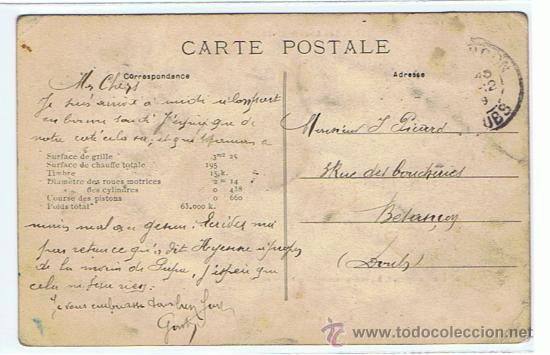 Postales: TRENES - LOCOMOTORAS, POSTAL PRACTICAMENTE UNICA, SELLADA Y RESELLEDA, AÑO 1909 - Foto 2 - 27465298