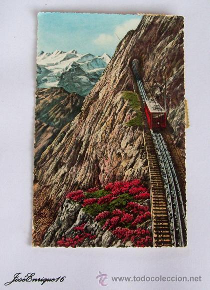 POSTAL TREN SUIZA - CIRCULADA A URUGUAY 1954 - 2 SELLOS HELVETIA (Postales - Postales Temáticas - Trenes y Tranvías)