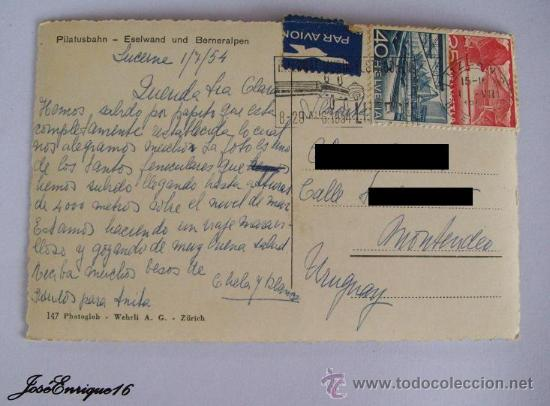 Postales: POSTAL TREN SUIZA - CIRCULADA A URUGUAY 1954 - 2 SELLOS HELVETIA - Foto 2 - 25894244